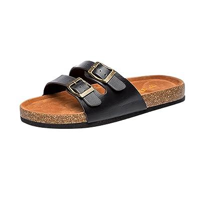 5dc034ec202 ZKOO Cork Flip Flops Womens Flat Sandals Slippers Shoes Open Toe Leather  Strap Beach Shoes Casual Flip Flops Summer