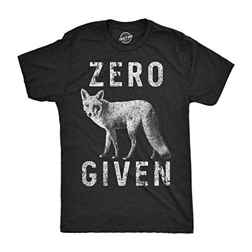 Mens Zero Fox Given Tshirt Funny Wordplay Animal Tee for Guys -M Black