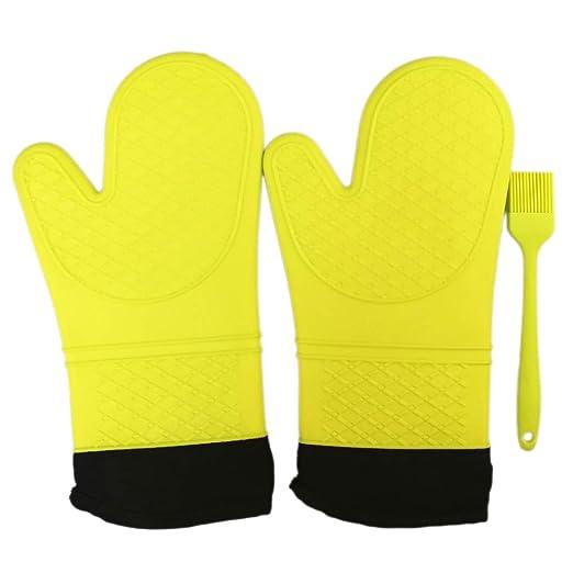 Extra largo profesional guantes de manopla de horno de silicona ...