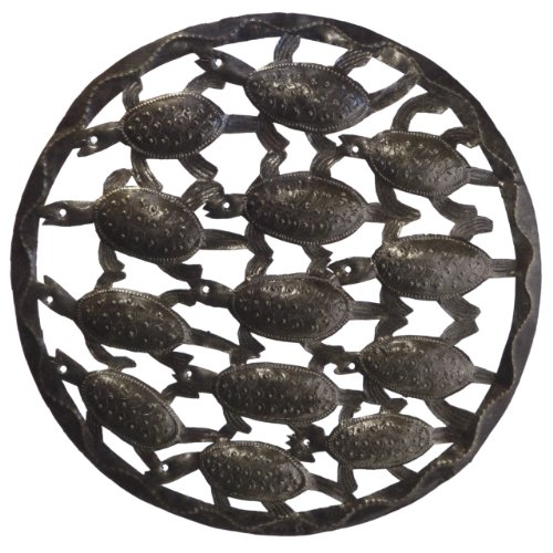 Le Primitif Galleries Haitian Recycled Steel Oil Drum Outdoor Decor, 17.5 by 17.5-Inch, Bale of Turtles