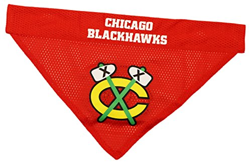 NHL Chicago Blackhawks Bandana for Dogs & Cats, Large/X-Large. - Cute & Stylish Bandana! The Perfect Hockey Fan Scarf Bandana, Great for Birthdays or Any Party! ()