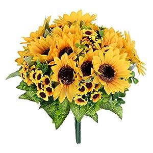 DearHouse Artificial Flowers 4 Bouquet Silk sunflowers Artificial Sunflower Bouquet 7 Heads Beauty Fake Sunflower Artificial Silk Flower Bouquet for Home kitchen Bride Holding Flowers Floral Decor 43