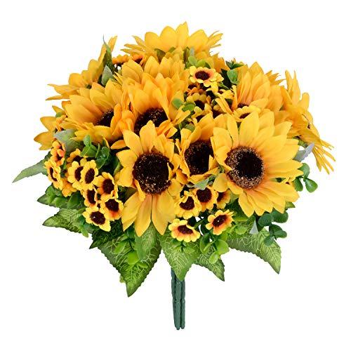 (DearHouse Artificial Flowers 4 Bouquet Silk sunflowers Artificial Sunflower Bouquet 7 Heads Beauty Fake Sunflower Artificial Silk Flower Bouquet for Home kitchen Bride Holding Flowers Floral Decor)