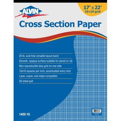 Alvin Cross Section Paper 10 x 10 Inches Grid, 50-Sheet Pad (1422-15) by Alvin by Alvin