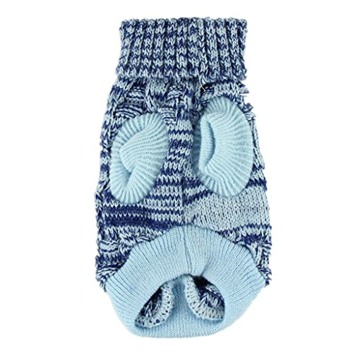 Farjing Puppy Clothes,Fashion Blue Sweater Twist Design Pet Puppy Knit Clothes(XL,Blue) ()