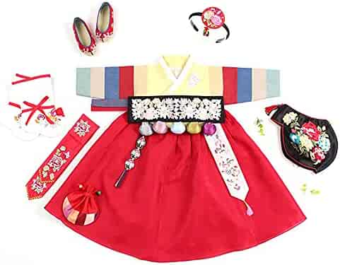 41792ad91 Korean Hanbok Traditional Dress First Birthday for Baby Girl Dolbok Dol  Party red Yellow