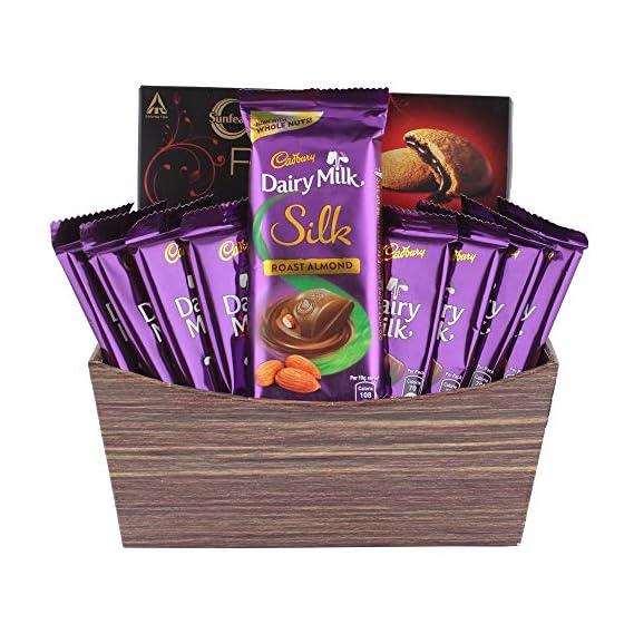 Astonished Retail Creamy Dairy Milk Silk with Chocolaty Dark Fantasy | Dairy Milk Chocolate Basket | Chocolate Gift Hamper for Holi, Rakhi, Christmas, Birthday, Anniversary, Diwali, 1