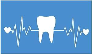 "EZ-STIK Tooth Heartbeat lifelineI257 8"" Wide Sticker Decal Dentist Hygienist"