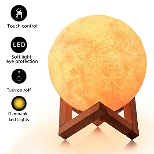 Woman Lighting - LOFTEK 5.9-inch 3D Printing Moon Lamp,Ideal Gifts for Women, Rechargeable Moon Light with Stand, Warm White & Cool White, Dimmable Touch Control Brightness with USB Charging