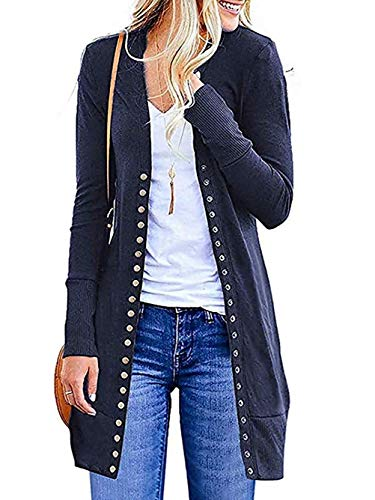 (FISOUL Womens Open Front Buttons Cable Knit Pocket Sweater Cardigan (Navy Blue,S))