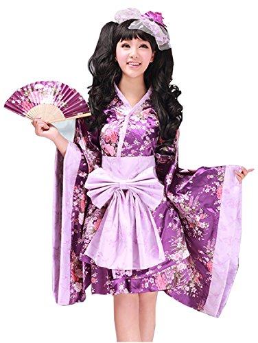 Nouqi® Womens Japanese Kimono Fancy Dress Lolita Anime Purple Cosplay Costumes M Size