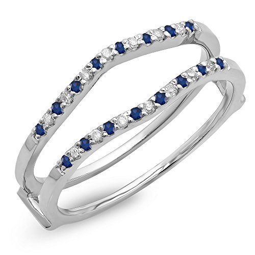 Dazzlingrock Collection 14K Round Blue Sapphire Ladies Anniversary Wedding Enhancer Guard Double Ring, White Gold, Size 7 (Sapphire Wedding Band White Gold)