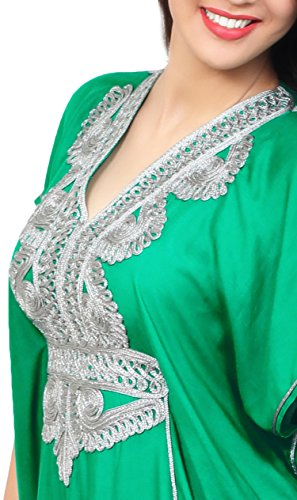Moroccan Caftan Handmade Light Weight Cotton Silver Hand Embroidery Breathable Soft Green by Moroccan Caftans (Image #5)