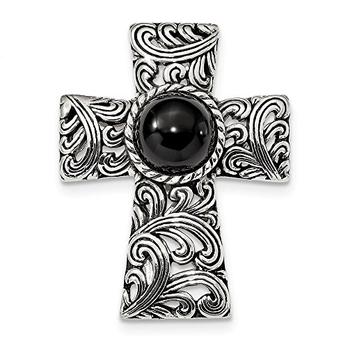 (Mia Diamonds Solid 925 Sterling Silver Antiqued Filigree Black Onyx Cabochon Slide)