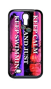 Cool Painting keep calm and just keep swimming Snap-on Hard Back Case Cover Shell for Samsung GALAXY S4 I9500 I9502 I9508 I959 -684