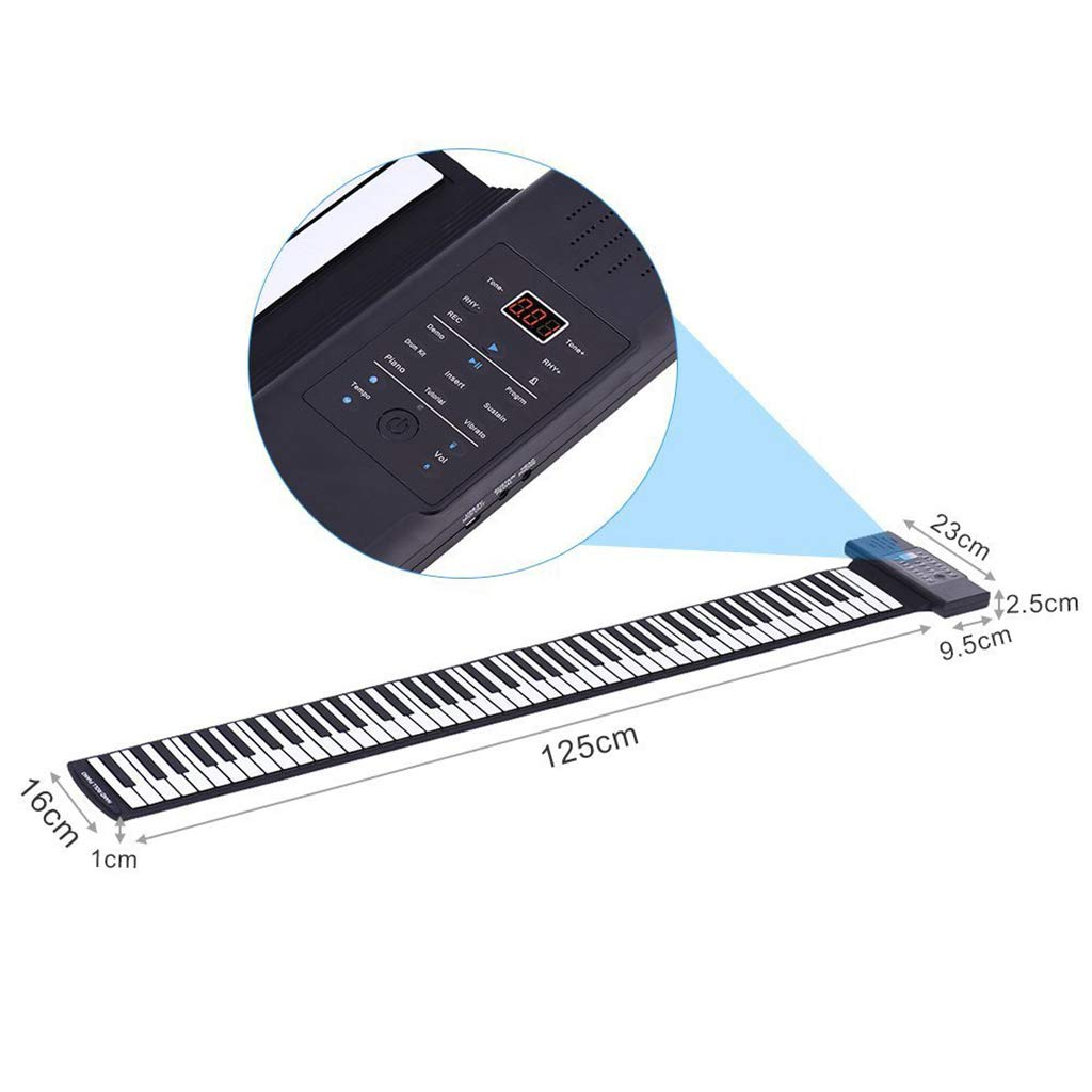 Thickened Roll Up Piano Folding Silicone Hand Roll Keyboard Electronic Digital Piano Keyboard Multifunction 88-Key, Black by Anyer Piano (Image #7)