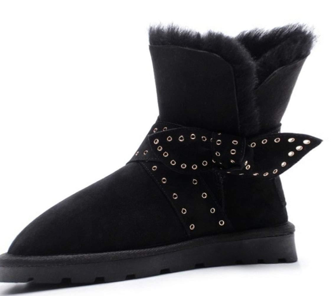 noir 34EU HRN Bottes de Neige pour Femmes Chaudes et Plates avec des Bottines en Cuir et des Chaussures en Coton décoratives