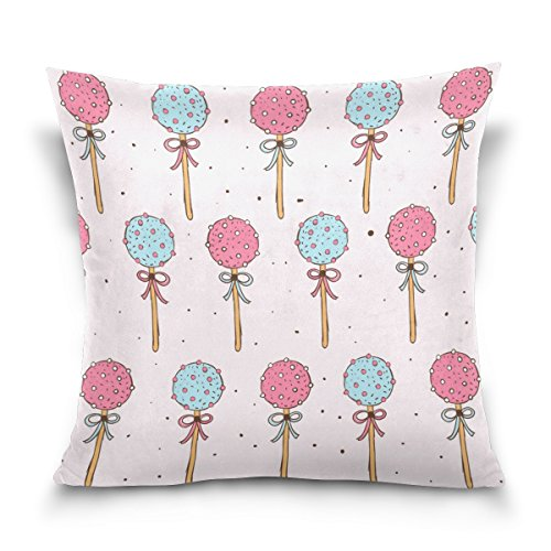 (LEISISI Cake Pops Pattern Throw Pillow Case Cushion Cover Pillowcase 16