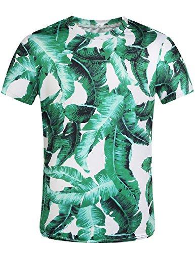 SSLR Mens Banana Leaves Hawaiian Short Sleeve Casual T Shirt