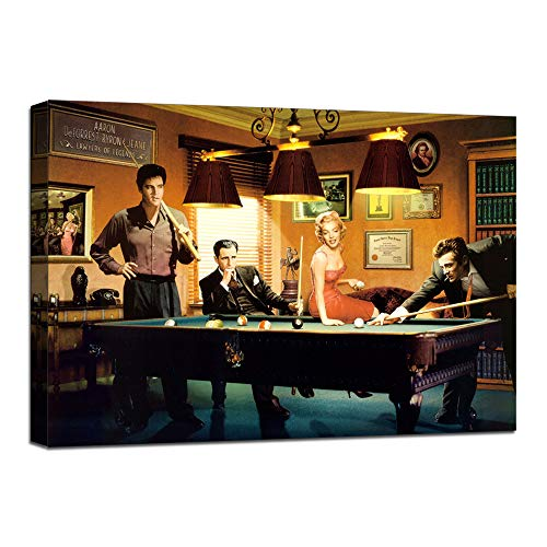 """James Dean Elvis Marilyn Monroe Billiards Snooker Wall Art Picture Canvas Painting Modern Prints Poster Artwork Home Decor for Living Room Office Coffee Bar Stretched Framed Ready to Hang (18""""Hx24""""W)"""