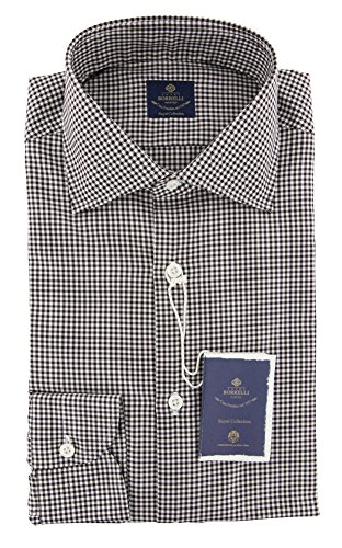 new-luigi-borrelli-brown-micro-check-extra-slim-shirt