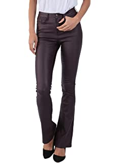Women/'s Bootcut wet leather look stretch Trousers mid rise Jeans UK 6 8 10 12 14