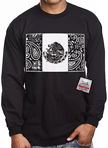 Long Sleeve Mexican Bandana Flag CALI URBAN Wear T shirt Mexico Chicano Mex