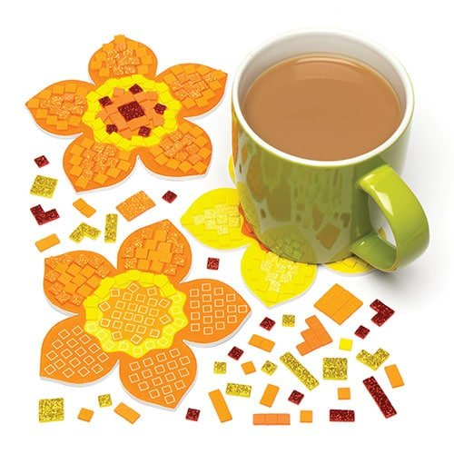 Baker Ross Daffodil Mosaic Coaster Kits for Kids Perfect for Spring Arts Crafts and Decorating for Boys and Girls Pack of 6