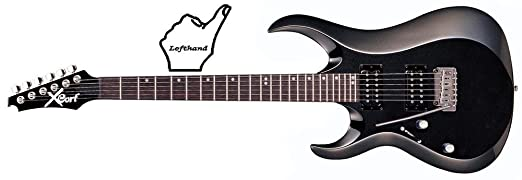 cort x-2 guitare modele gaucher noir brillant