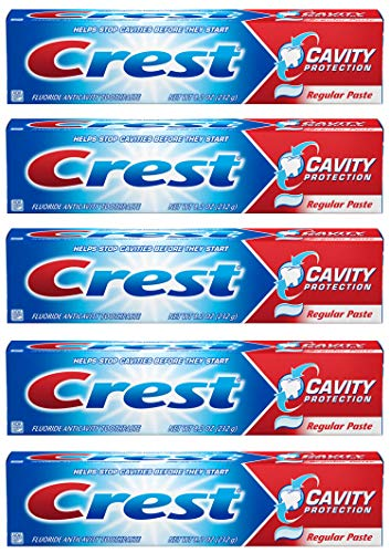 Crest Fluoride Anticavity Toothpaste, Prevents Cavities Before They Start, Regular Paste, 8.2 Ounce (Pack of 5)