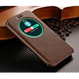 """D-kandy SMART LEATHER CIRCLE VIEW FLIP COVER BACK CASE FOR ASUS ZENFONE 3 ZE520KL 5.2"""" - BROWN"""