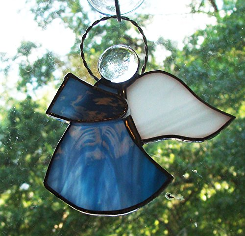 Blue Angel Handmade Stained Glass Sun Catcher (White Wispy Iridescent Stained Glass)