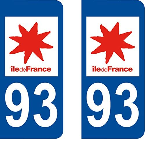 hot sale 2017 2 Stickers Autocollant style Plaque Immatriculation département 93