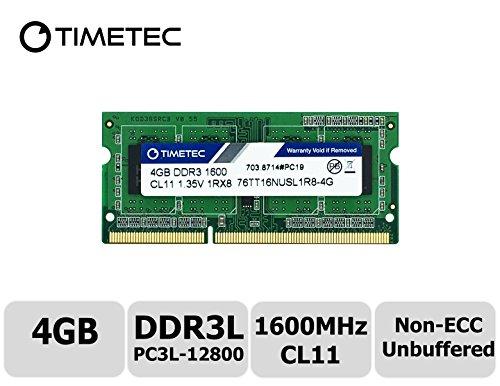(Timetec Hynix IC 4GB DDR3L 1600MHz PC3L-12800 Non ECC Unbuffered 1.35V CL11 1Rx8 Single Rank 204 Pin SODIMM Laptop Notebook Computer Memory Ram Module Upgrade (High Density 4GB))