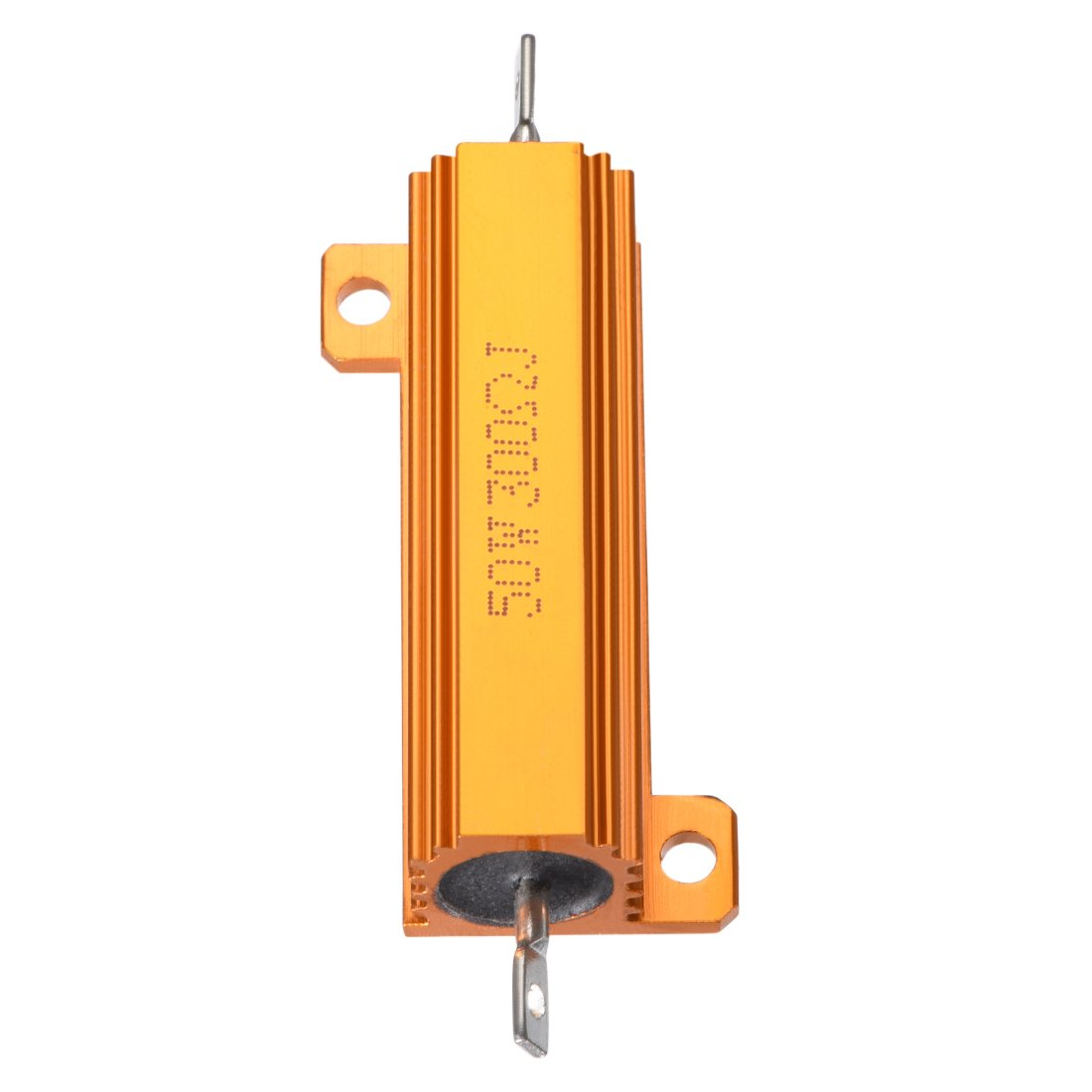 sourcingmap 50W 300 Ohm 5/% Aluminum Housing Resistor Screw Tap Chassis Mounted Aluminum Case Wirewound Resistor Load Resistors Gold Tone 1pcs
