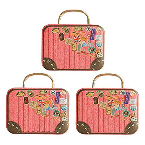 Fellibay Gift Candy Boxes Chocolate Box Case Iron Tin Containers Vintage Jewelry Coin Storage Mini Suitcase Handbag Box with Handle for Event Decorations Wedding Party Favor(3Pack) (Pink)