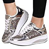 Sneakers For Women,Clearance Sale!!Farjing Wedges Sneakers Sequins Shake Shoes Fashion Girls Sport Shoes(US:6.5,Silver)