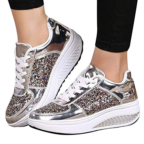 (Sneakers For Women,Clearance Sale!!Farjing Wedges Sneakers Sequins Shake Shoes Fashion Girls Sport)