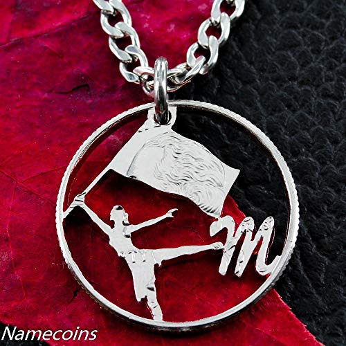 Color Guard Cut out Monogram Personalized Necklace, Hand Cut Coin, By ()