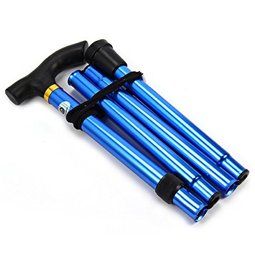 Folding Walking Stick, Adjustable Cane Aluminum Metal Collapsible Ergonomic Handle Lightweight Quick Locks Trail Poles with Non-Slip Rubber Base for Hiking Trekking Travel (Blue) by Wildmarely (Image #1)