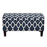 HomePop Large Storage Woven Fabric Ottoman, Navy Geometric