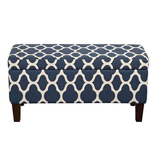 HomePop Large Upholstered Rectangular Storage Ottoman Bench with Hinged Lid, Navy Geometric