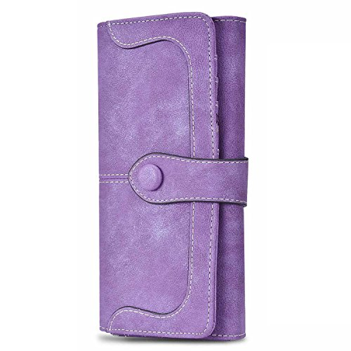 Womens Long Clutch Wallet 5.5 inch Cellphone Wallet With Luxury Buckle Credit Card Holder Purse Wallet