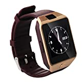 AENMIL Latest DZ09 Bluetooth Smart Wear Watches, Wristwatch with SIM Card Slot, Pedometer Anti-lost Camera Call Reminder Phone Compatible with Android and iOS - Gold