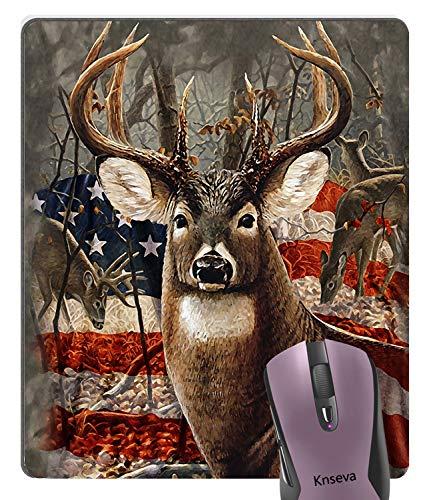 Knseva Abstract Vintage Patriotic Deer Old Forest Retro American Flag Design Art Mouse Pad