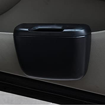 Portable Mini Car Trash Bin Box Door Hanging Trash Can