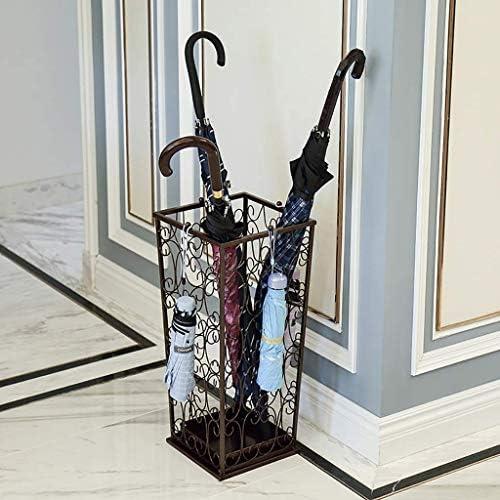 家庭用傘立てアイアンアートクリエイティブオフィス傘バケツぶら下げ傘収納ラックホテル(色:BROWN)