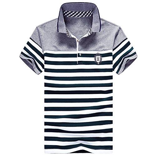 メンズ ポロシャツ 半袖 ボーダー柄 ゴルフ カジュアル ゴルフウェア メンズ ビジネス ポロ 男性 夏 大きいサイズ