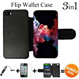 3in1 vape - Colorful Vape Smoke Custom iPhone SE Flip Wallet Case,Bundle 3in1 Comes with Screen Protector/Universal Stylus Pen by innosub