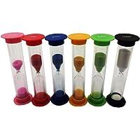 Prettyia Set of 6 Sand Timer - Hourglass Sandglass Timer 30 Seconds + 1 Mintues + 2 Mintues + 3 Mintues + 5 Mintues + 10 Mintues